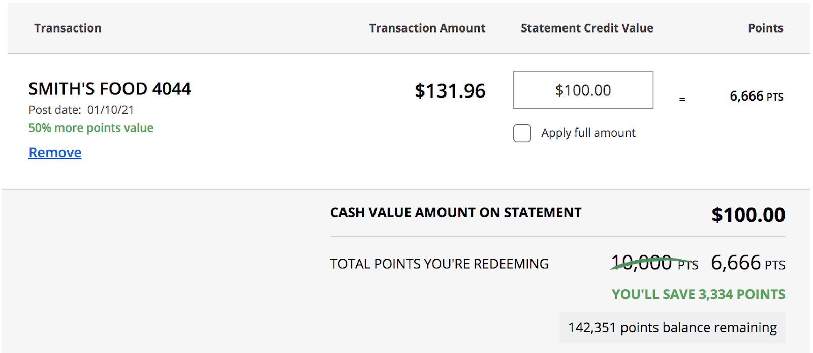 chase pay yourself back - Cash Value amount on statement