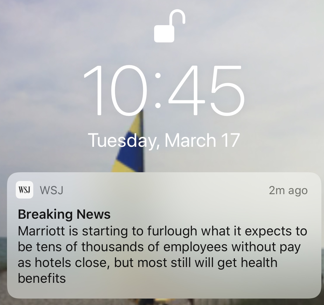 Breaking News: Marriott is starting to furlough what it expects to be tens of thousands of employees without pay as hotels close, but most still will get health benefits.