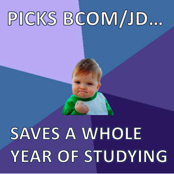 Picks BCom/JD