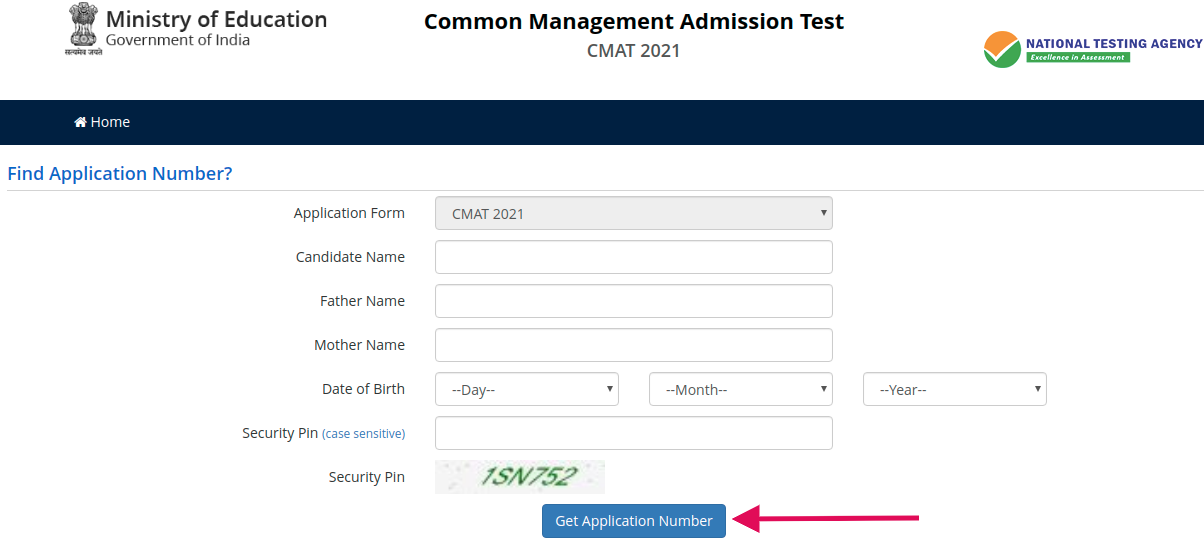 CMAT 2021 Application Number