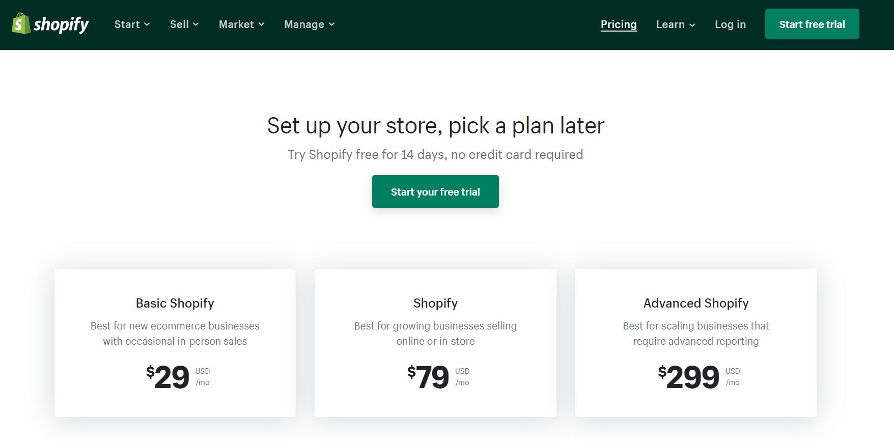 shopify pricing plan