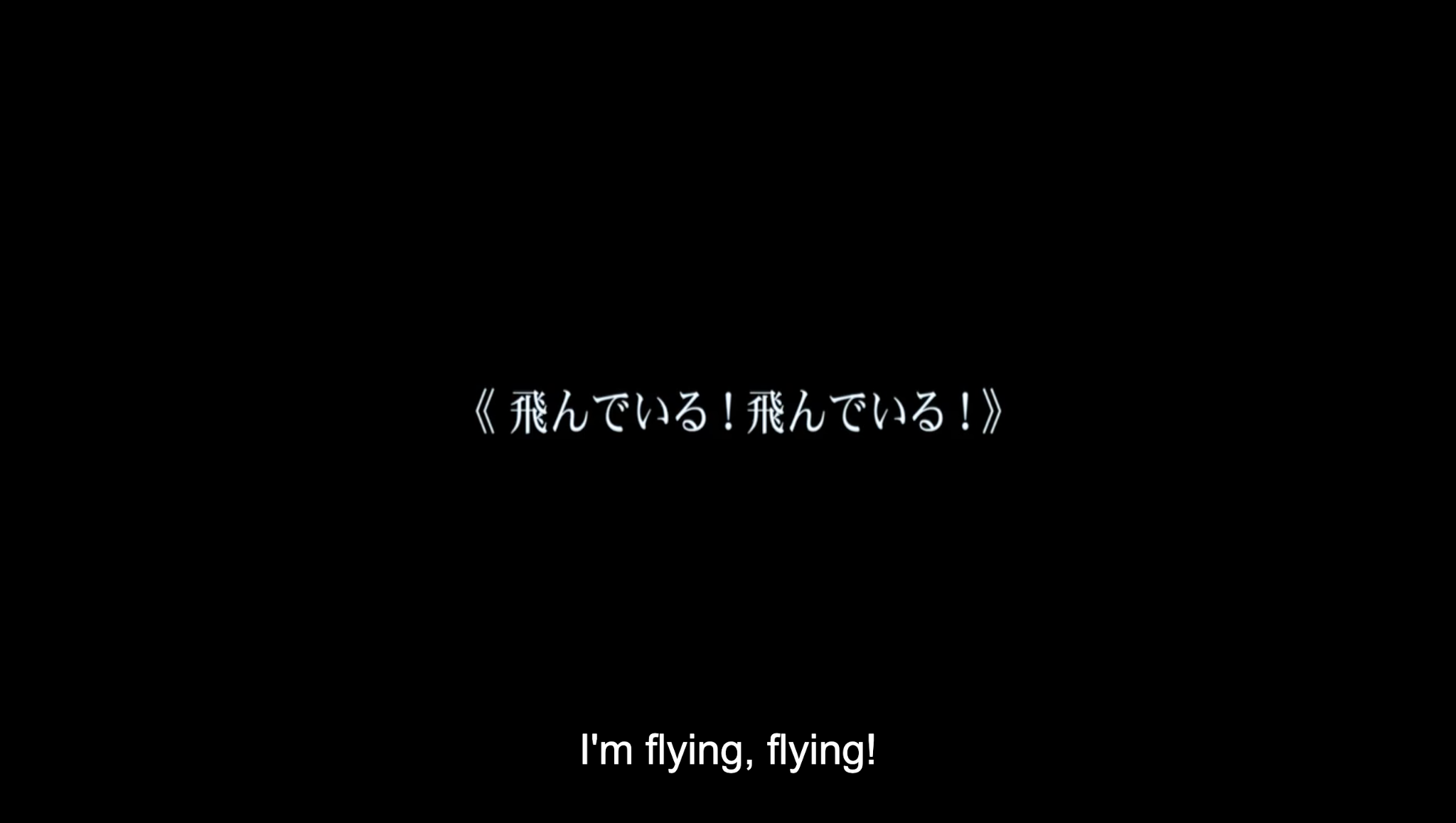 """A black screen with white text, reading, """"I'm flying! I'm flying!"""" in Japanese"""