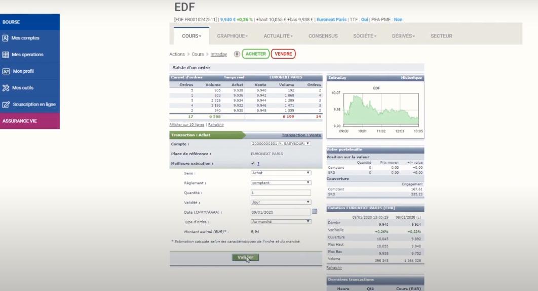 EasyBourse plateforme de trading