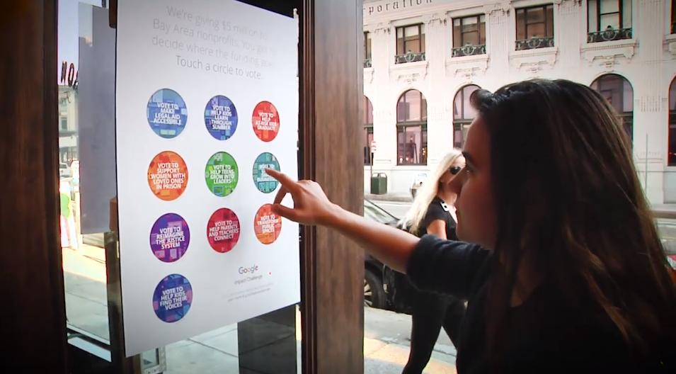 In this image Google's Bay Area Impact challenge is a prime guerrilla marketing example that was enjoyed by passersby due to its interactive elements