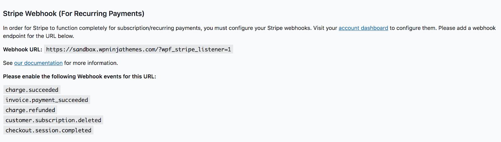 configuring stripe webhook, recurring payment wordpress