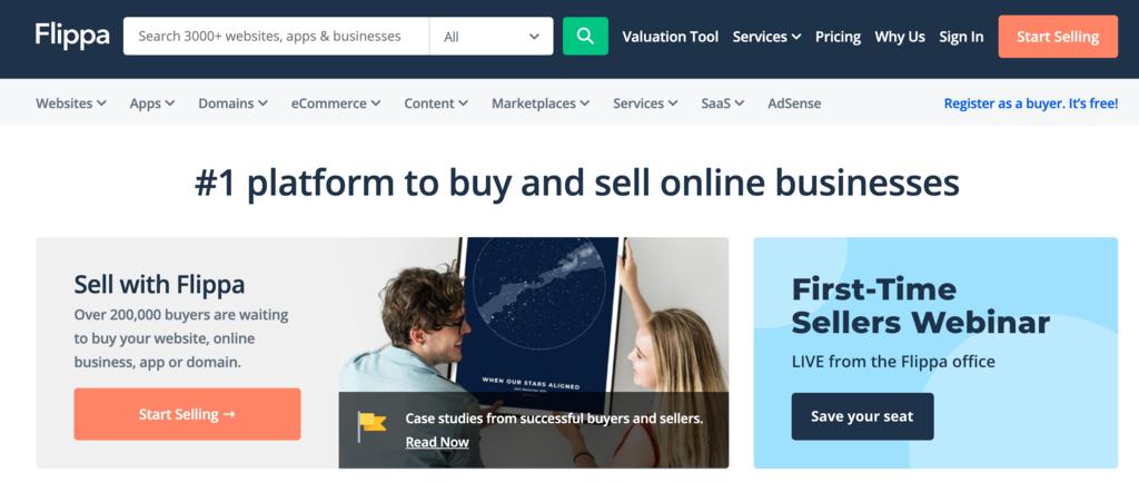 site flippa para renegociar e melhorar domínios como uma das ideias de negócios online