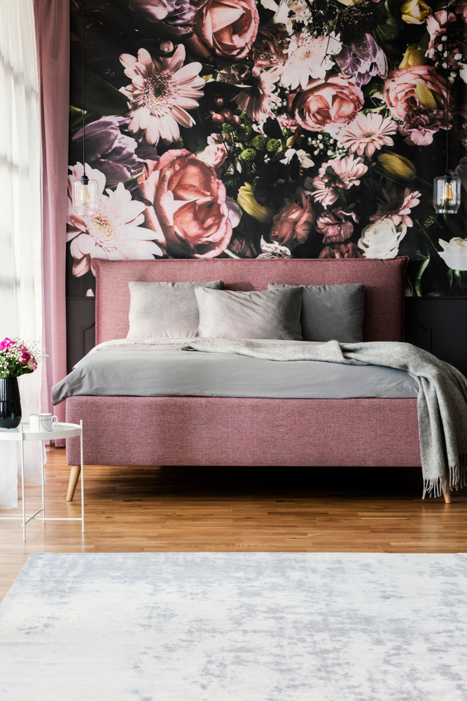 Bedroom With Large Fall Floral Print Wallpaper