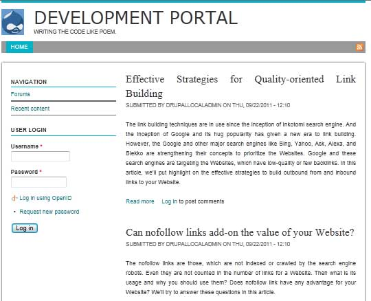 Preview of Academia Theme in Drupal 7.8