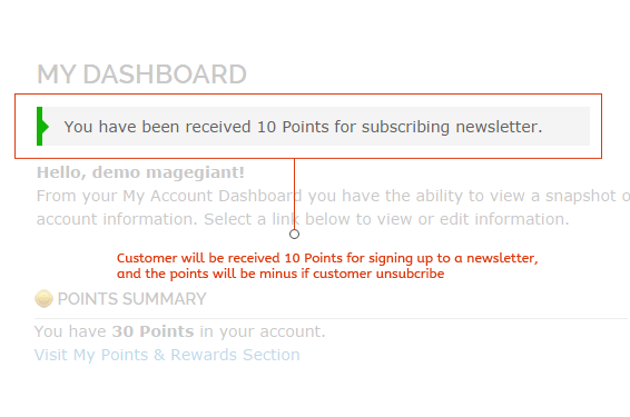 magento reward points Newsletter subscriptions