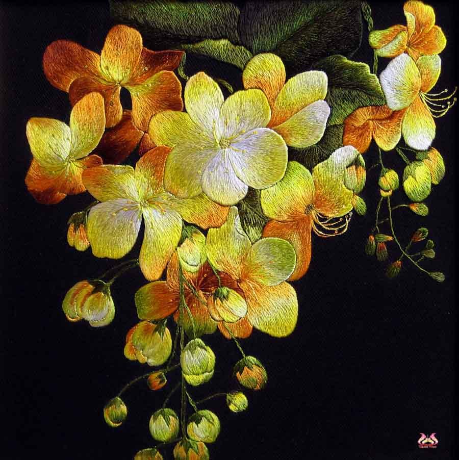 Tranh thêu hoa lan và ý nghĩa đặc biệt trong phong thủy 7