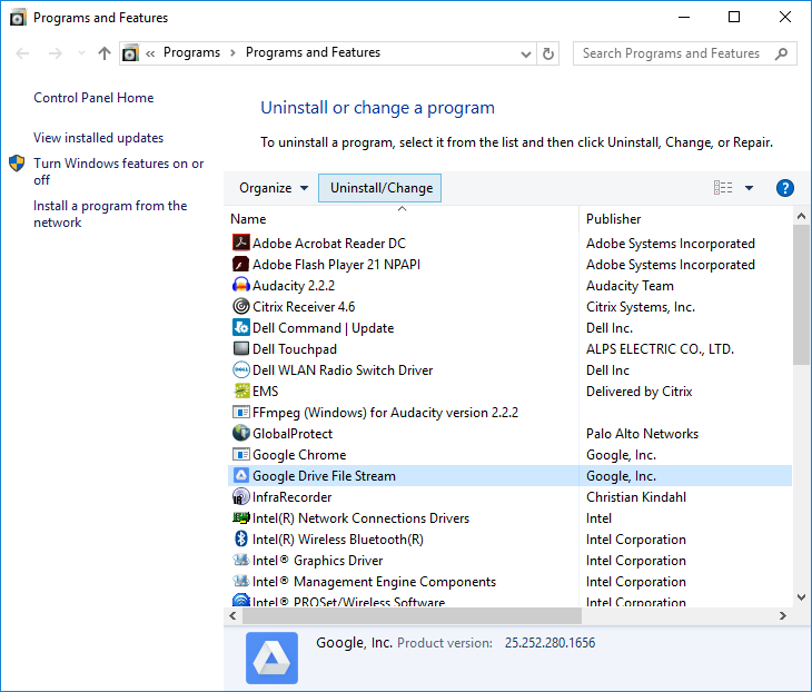 ITS Notices and Alerts: How to Uninstall Google Drive File
