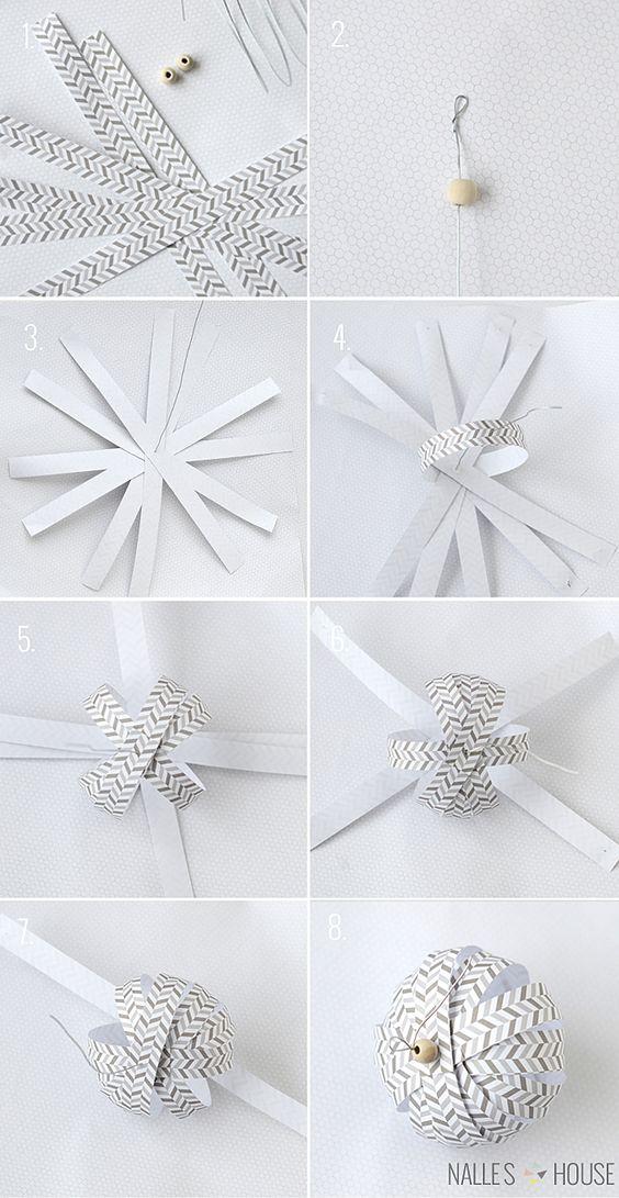 Návod jak si vyrobit jednoduché vánoční ozdoby z papíru ve skandinávském stylu.
