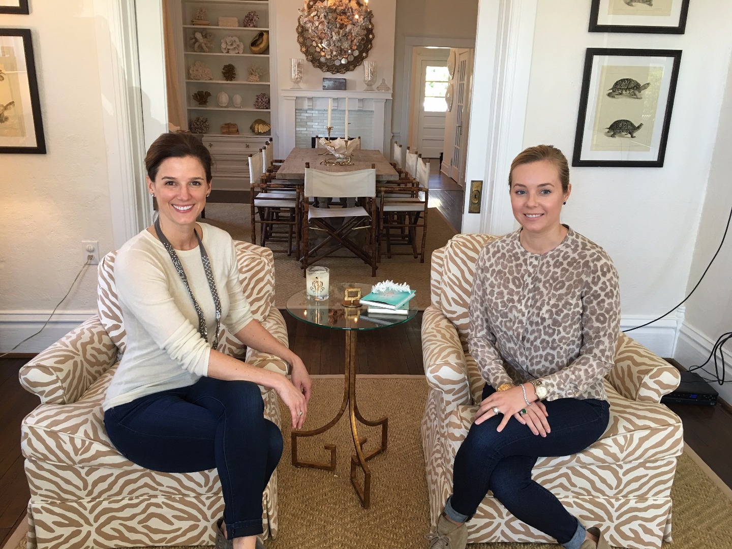 Mary Cheatham and Kristy at the Harvey's renovated home on Front Street in Beaufort