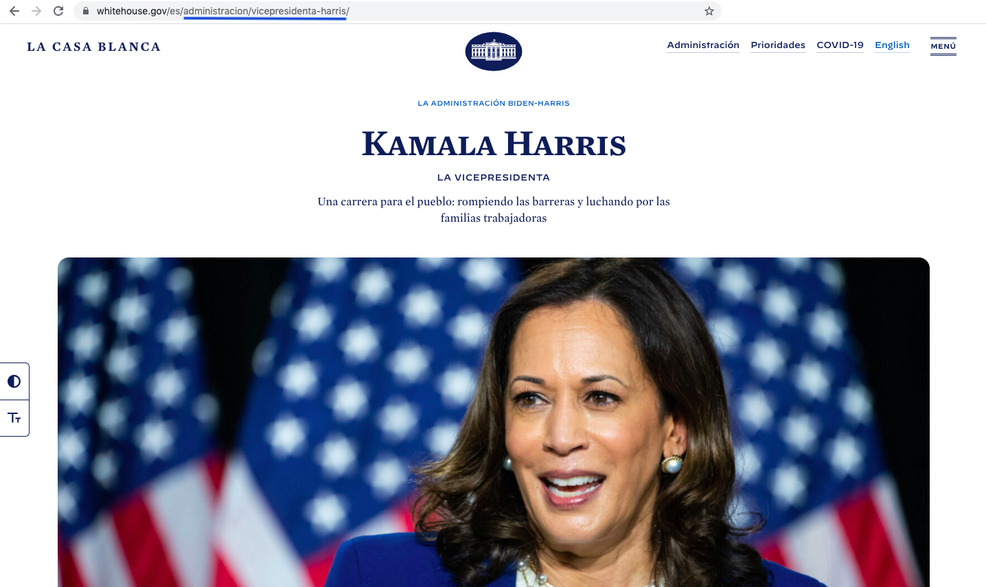 screenshot of the White House website after translation