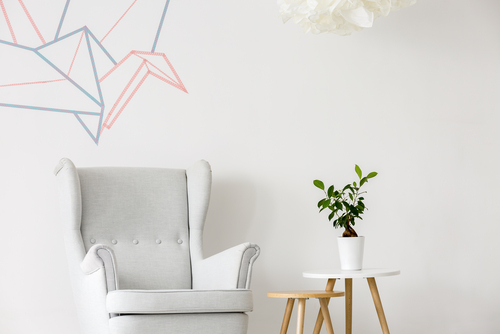 Abstract artwork displayed on wall