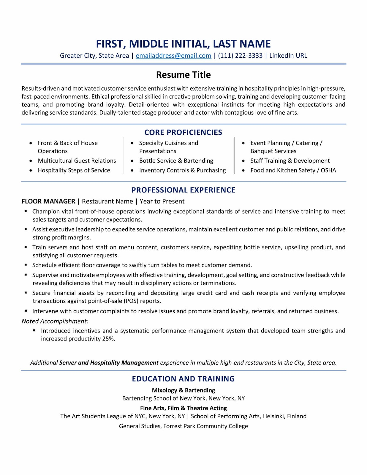 Example of a US resume format