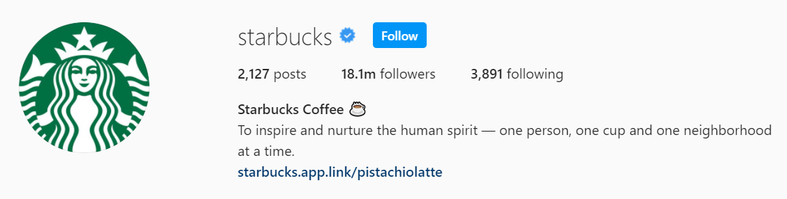 Starbucks Instagram bio
