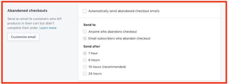 Abandoned Checkouts Shopify