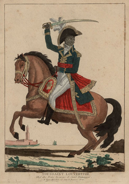 Illustration of Toussaint L'Ouverture on horseback dressed in formal uniform and carrying an officer's sword.