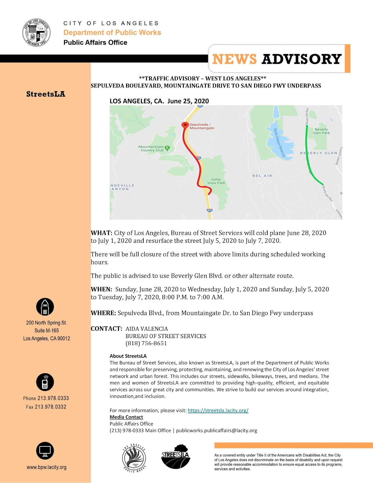 Dept of Public Works Traffic Advisory Sepulveda Starting June 28