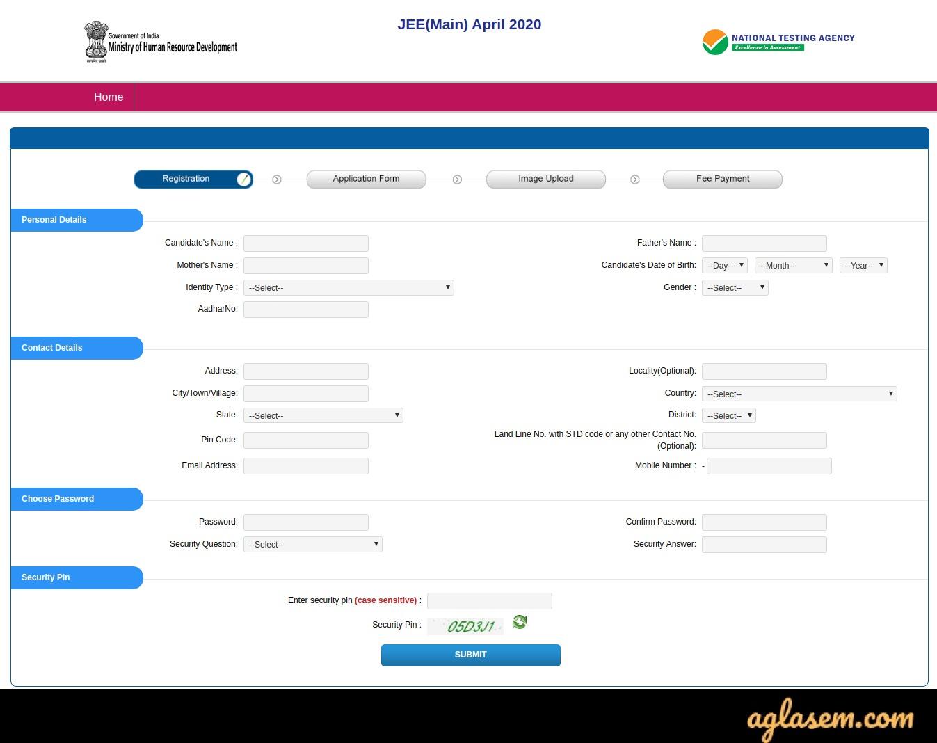 JEE Main 2021 April Registration Form