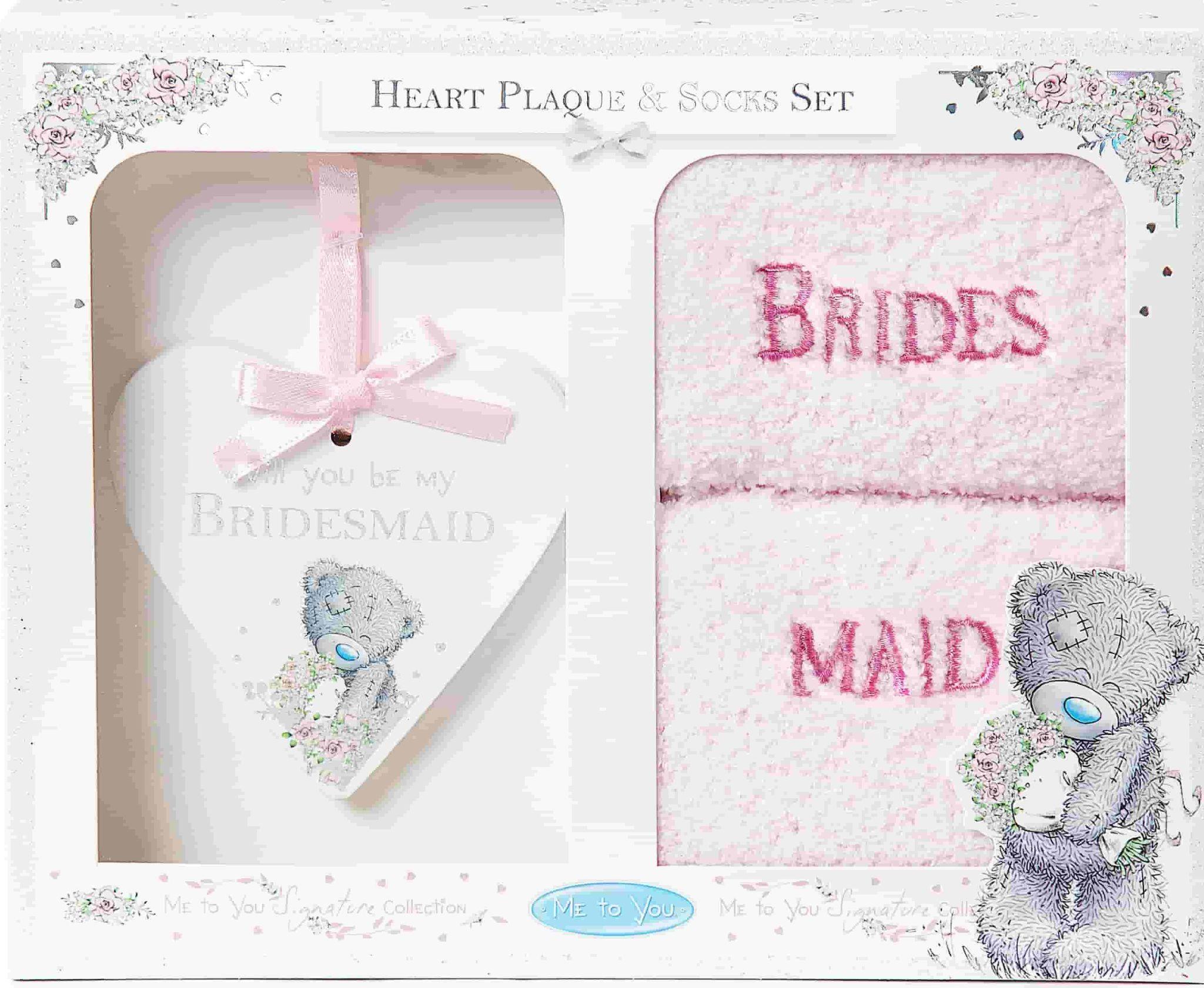 Clintons' bridesmaid plaque and sock set