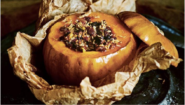 thanksgiving potluck recipe - stuffed pumpkin