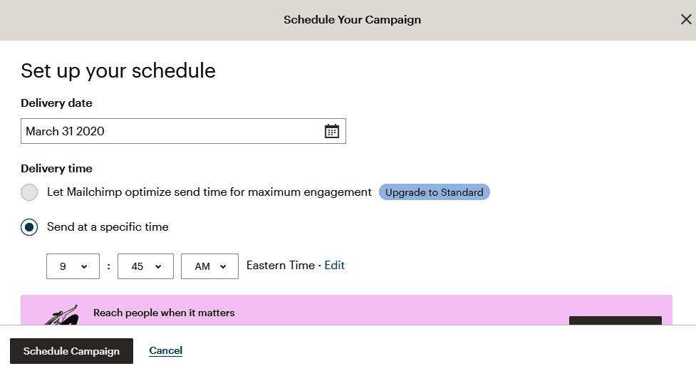 Cách lên lịch dịch vụ gửi email bằng MailChimp