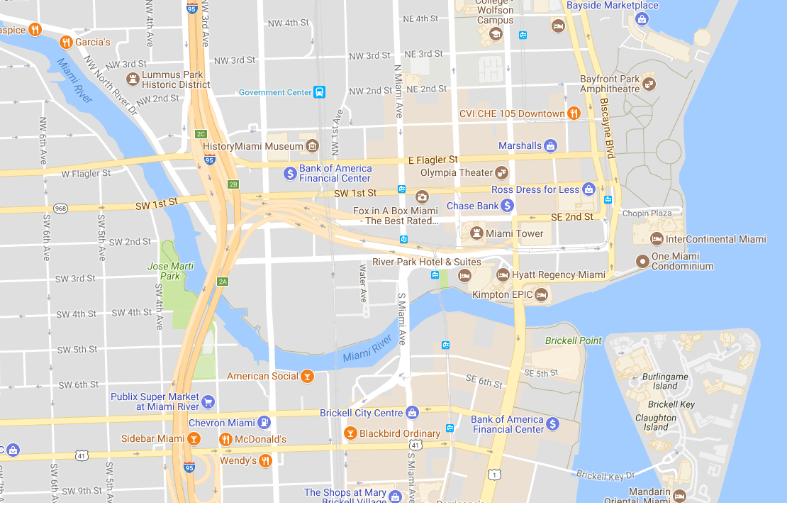 Miami river map by Biscayne bay