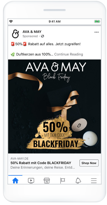 Ava & May retargeting campaign on Facebook