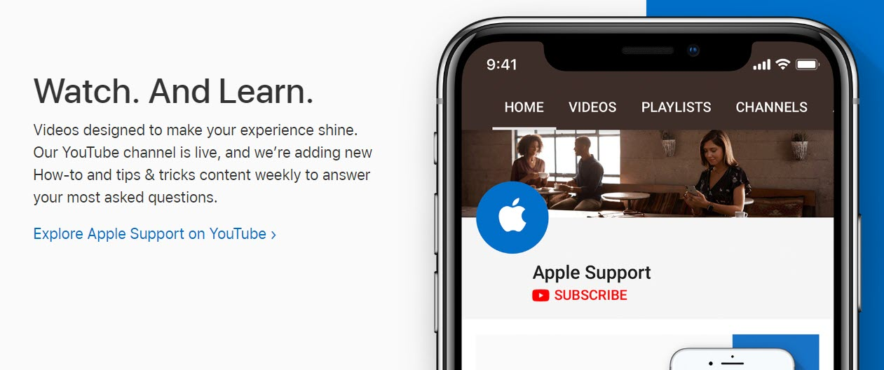 Apple Support uses YouTube videos in their knowledge base to help customers learn.