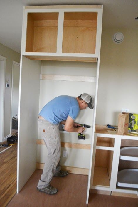 Then We Ed The Plywood Panels With Shim Between To Neighboring Cabinets