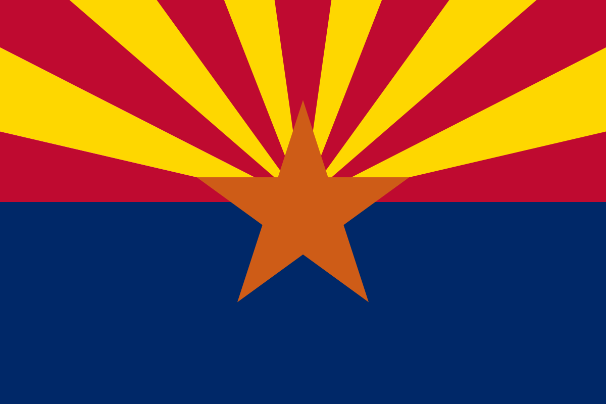 The Arizona state flag. It fails to appropriately capture just how freaking hot it is there, but it comes close.