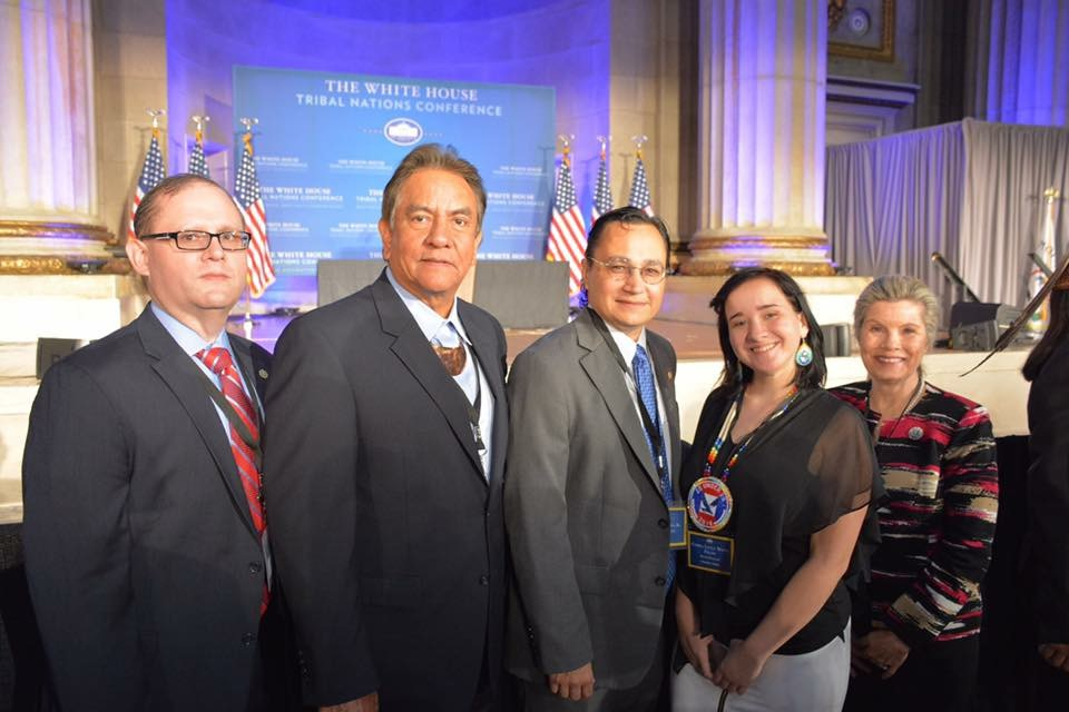 The Cherokee Nation Delegation, Left to Right: Gary Cooper, Executive Director of the Housing Authority of Cherokee Nation; Tribal Councilor Joe Byrd; Secretary of State Chuck Hoskins JR; Cierra Fields, Youth Delegate; Lisa Barteaux Long, Cherokee Nation Business