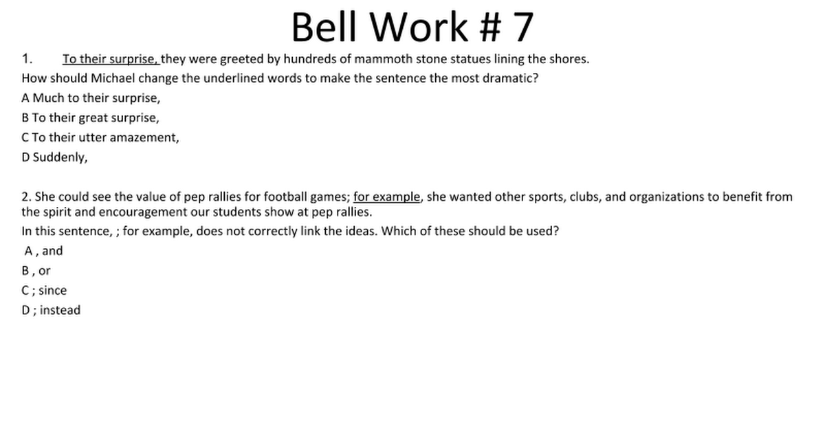 Bell work 7 google slides m4hsunfo