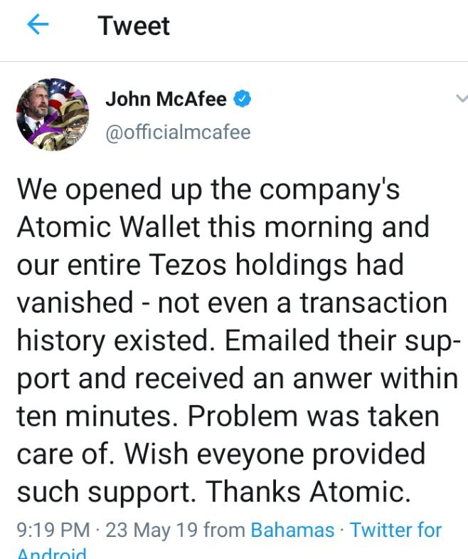John David McAfee Review on Atomic Wallet