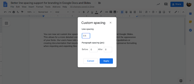 Better line spacing support for branding in Google Docs and Slides