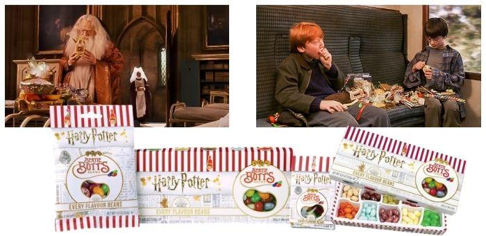 """L'immagine mostra due scene del film Harry Potter i cui i personaggi (Silente, Ron ed Harry) mangiano le famose caramelle """"Tutti i gusti +1"""". Inoltre appaiono le caramelle dell'azienda Jelly Belly che riprendono il packaging originale del film che è a scrisce bianche e rosse, un vero esempio di reverse product placement. Fonte: Marketing Ignorante"""