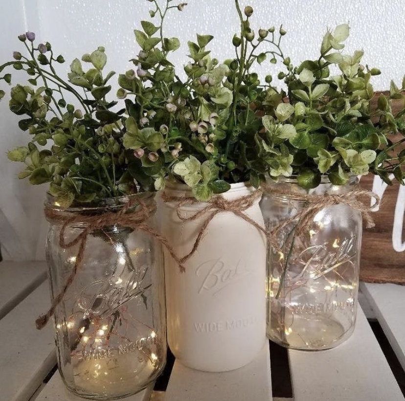 twinkly lights in mason jars