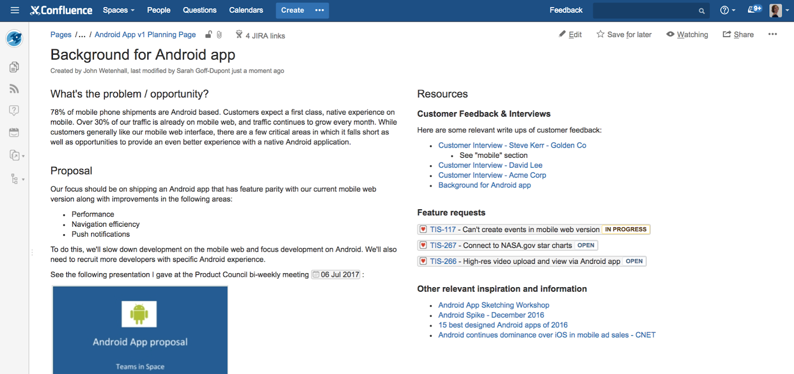 Release Planning on Confluence