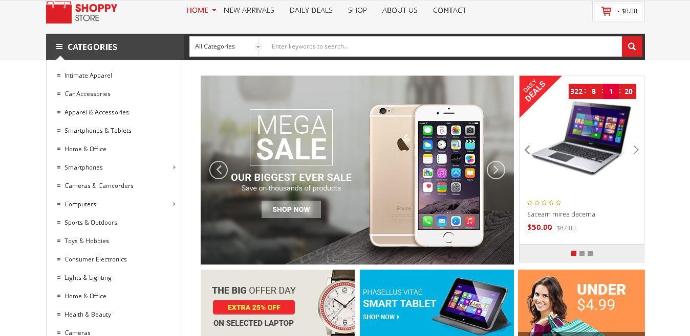 Digital products magento theme shoppy store