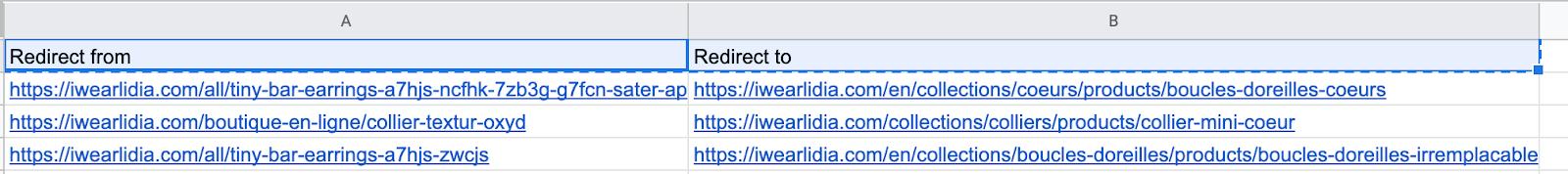 fichier pour rediriger des URLs dans shopify