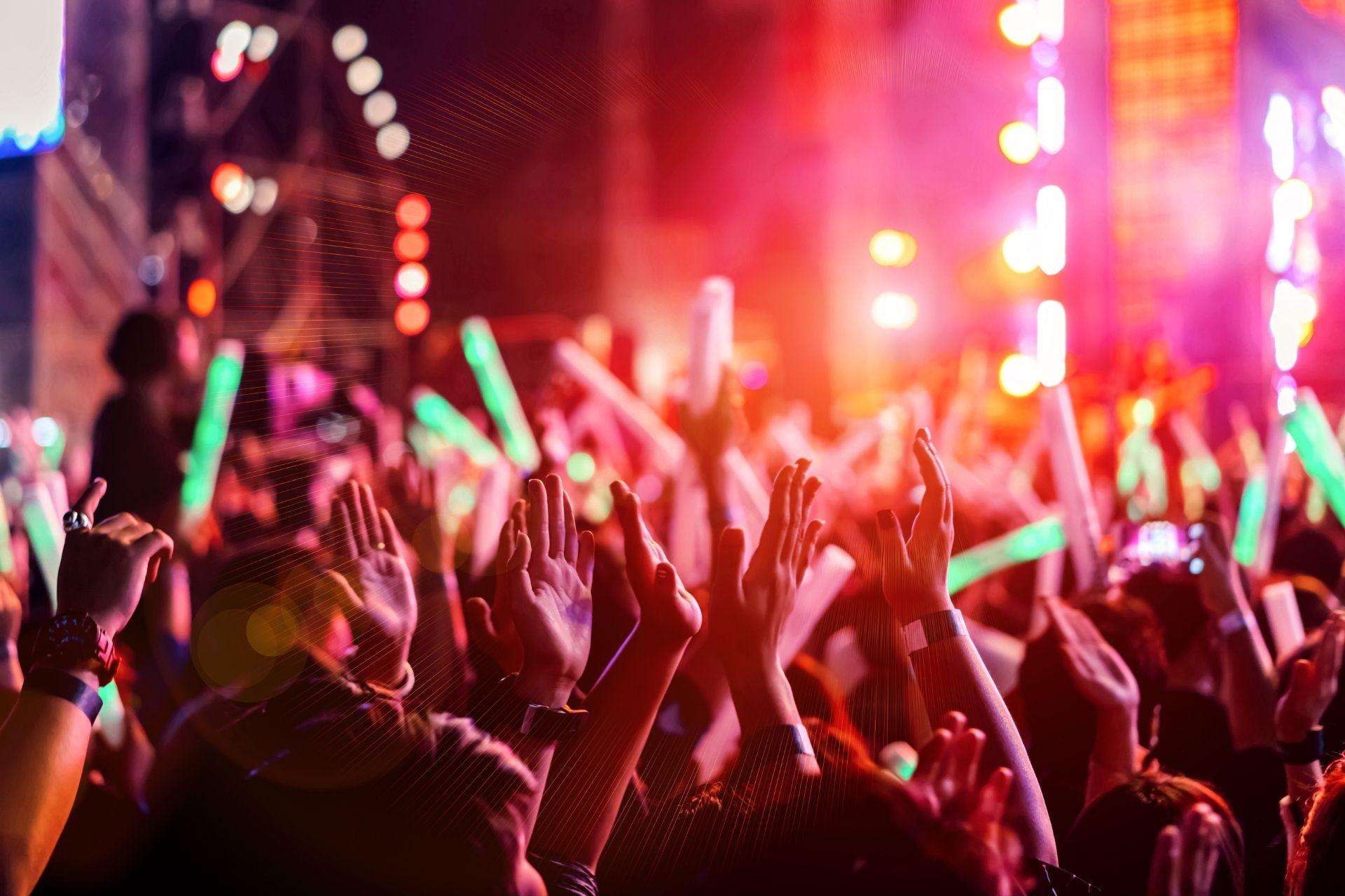 A crowd at a concert holding light sticks