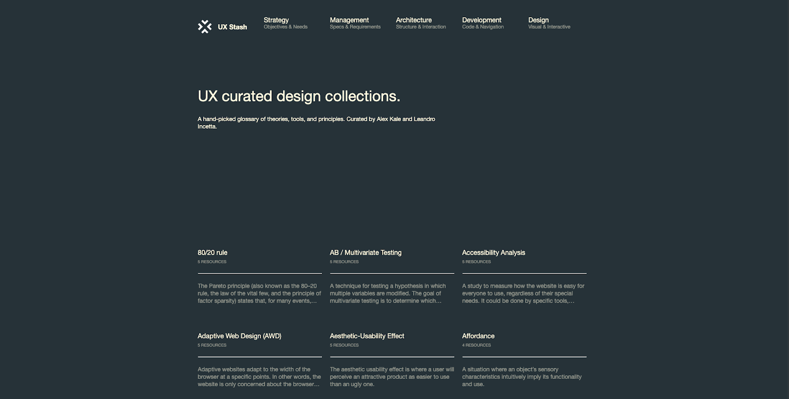 Screenshot of UX Stash which is a collection of glossary content organized into 3 alphabetical columns.