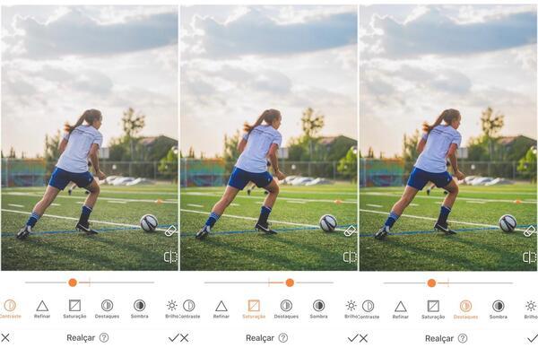 Foto de uma mulher jogando bola sendo editada pelo AirBrush com a ferramenta Realçar