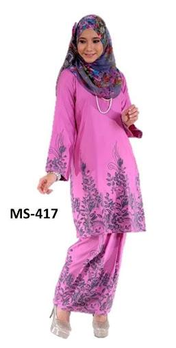 Baju Kurung Pahang Merah Jambu Pink Koleksi Fesyen Terkini Baju Raya 2014