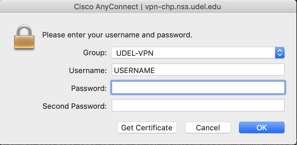 Cisco VPN dialogue box - connect to UDEL-VPN group