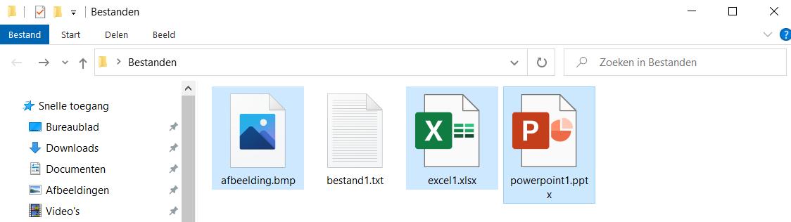 Selecteer meerdere bestanden