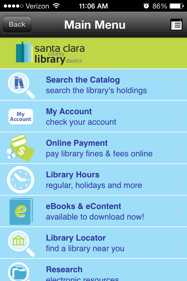 Native Mobile Apps for Libraries, Example of Boopsie for Libraries - Santa Clara County Library District