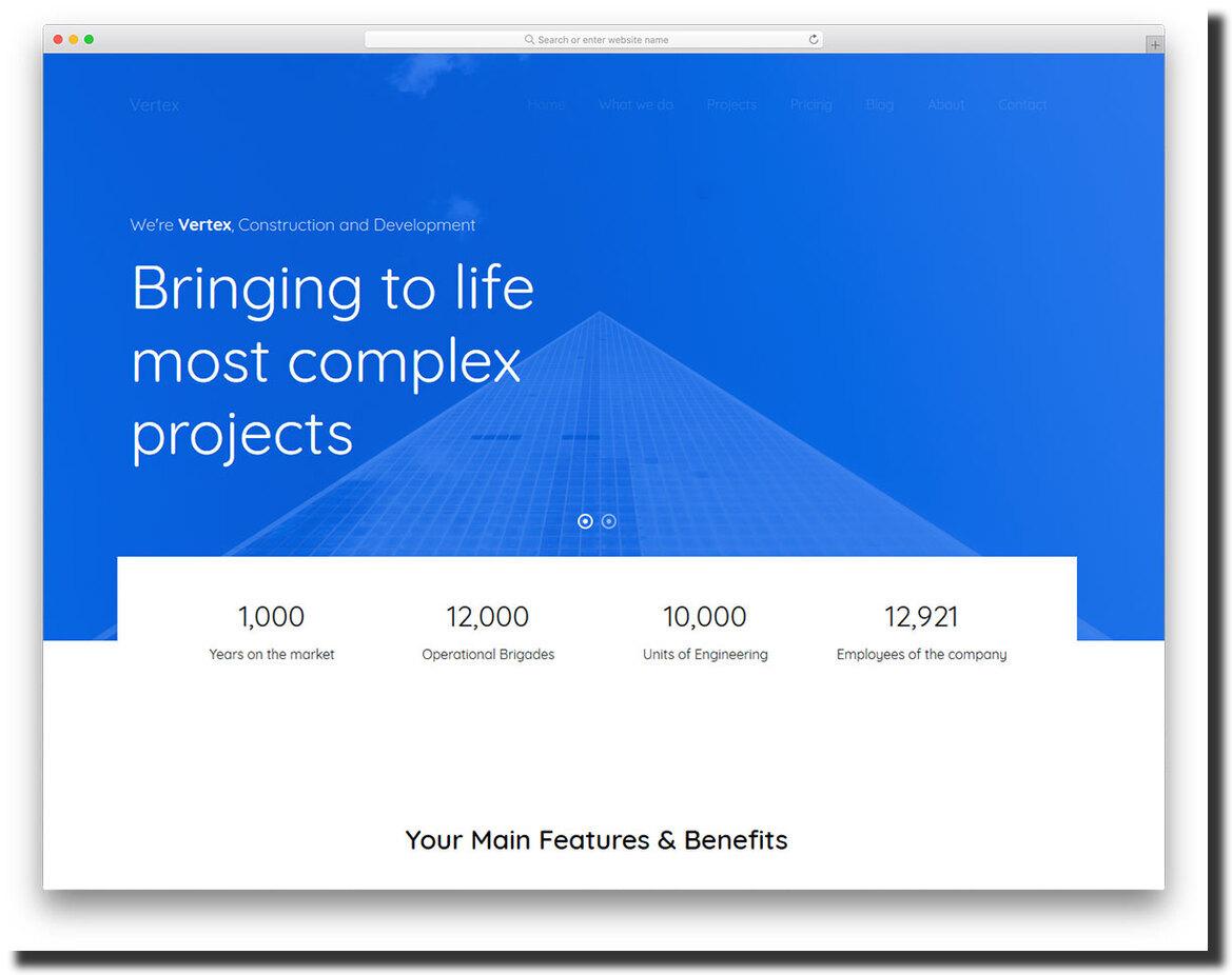 premium website design template Vertex